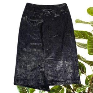 CUE Blue Denim Black Snakeskin Pencil Skirt Size 6